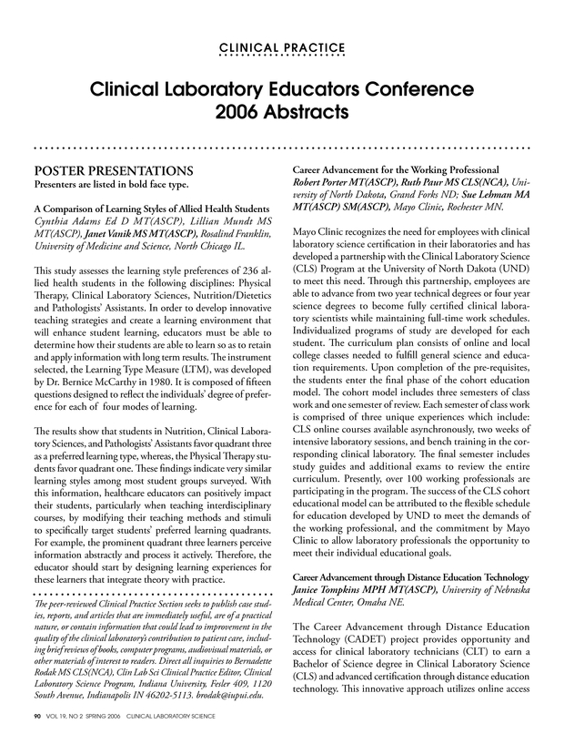 Clinical Laboratory Educators Conference 2006 Abstracts American